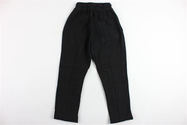 pantalone tinta unita tasca america elastico in vita in lino MADD | Pantaloni | MA1011NERO