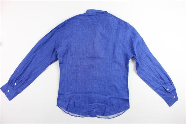 camicia tinta unita collo coreano MANUEL RITZ | Camicie | MR0348COBALTO