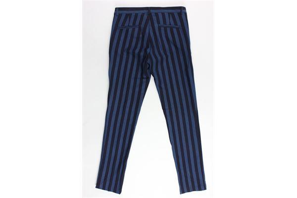 pantalone tasca america rigato girovita regolabile MANUEL RITZ | Pantaloni | MR0590BLU