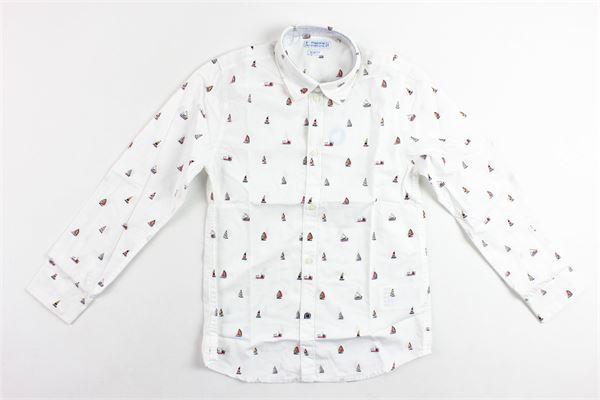 camicia manica lunga tinta unita microfantasia MAYORAL | Camicie | 3137BIANCO