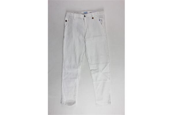 pantalone in denim tasca america tinta unita con cintura MAYORAL | Pantaloni | 3516BIANCO