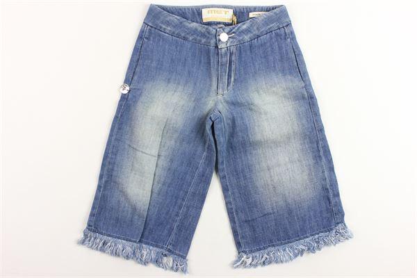 jeans bermuda tinta unita vita alta a palazzo MET   Jeans   00007502436BLU