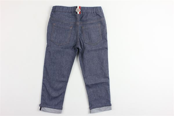 pantalone 5 tasche elastico in vita MONCLER | Pantaloni | D19511200890549N7DENIM