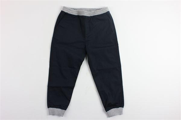 pantalone sportivo elastico in vita e profili in contrasto MONCLER | Pantaloni | D19541102490549M8BLU