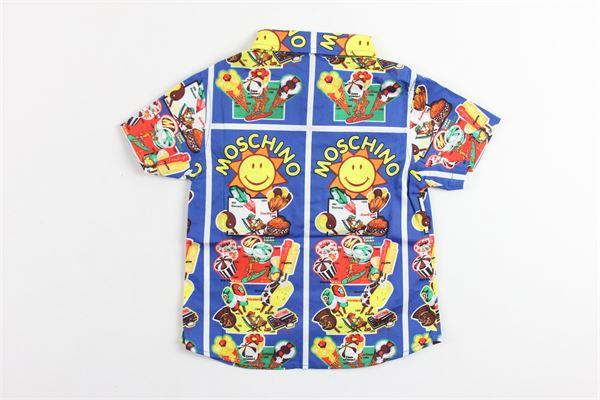 camicia mezza manica in cotone stampa smile MOSCHINO   Camicie   MZC018BLU