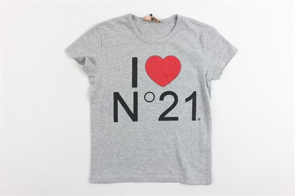 t-shirt mezza manica tinta unita con stampa N°21 | T-shirts | 08XY7085448GRIGIO