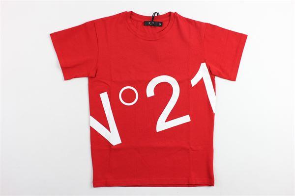 t-shirt mezza manica tinta unita con stampa n21 modello over size N°21 | T-shirts | 08XY704544800642ROSSO