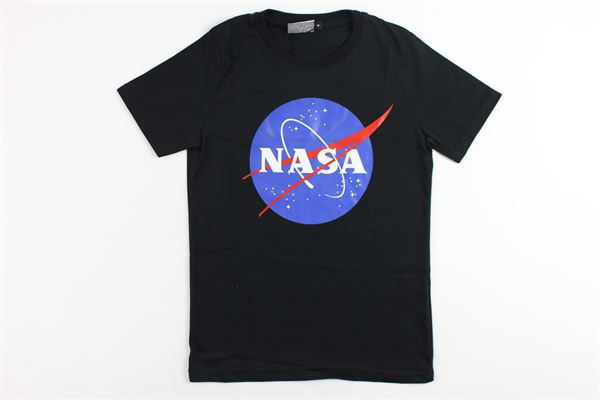t-shirt mezza manica tinta unita con stampa NASA | T-shirts | NS107BNERO