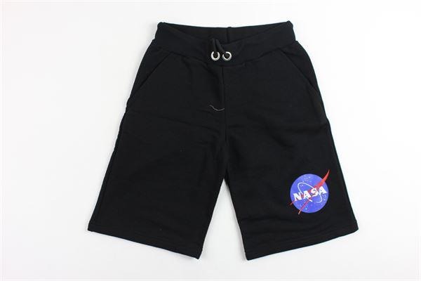 bermuda in felpa tinta unita con stampa NASA | Bermuda | NS902BNERO