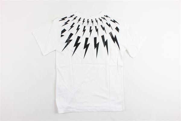 t-shirt mezza manica tinta unita con stampa NEIL BARRETT | T-shirts | 016472BIANCO