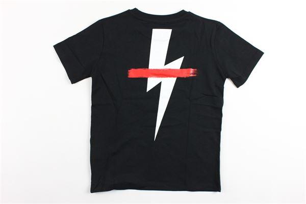 t-shirt mezza manica tinta unita con stampa NEIL BARRETT | T-shirts | 018623NERO