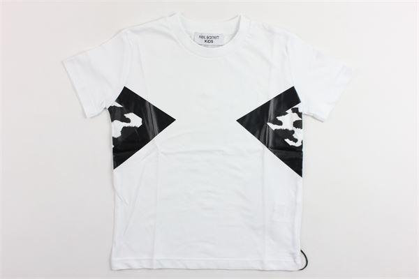 t-shirt mezza manica tinta unita con stampa NEIL BARRETT | T-shirts | 018626BIANCO