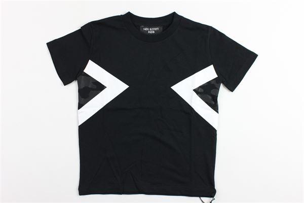 t-shirt mezza manica tinta unita con stampa NEIL BARRETT | T-shirts | 018626NERO