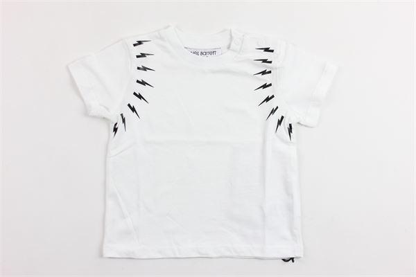 t-shirt mezza manica tinta unita  con stampa NEIL BARRETT | T-shirts | 018628BIANCO