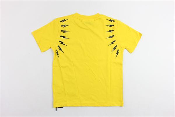 t-shirt mezza manica tinta unita  con stampa NEIL BARRETT | T-shirts | 018628GIALLO