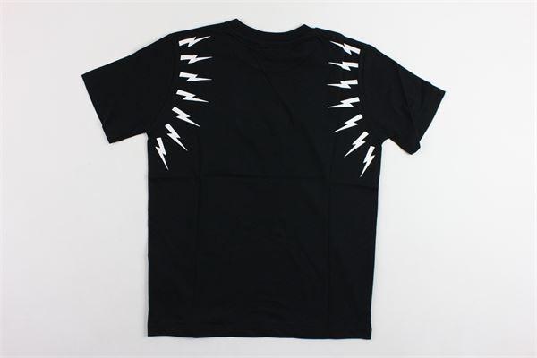 t-shirt mezza manica tinta unita  con stampa NEIL BARRETT | T-shirts | 018628NERO