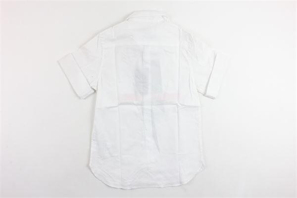 camicia mezza manica tinta unita con stampa NEIL BARRETT | Camicie | 018658BIANCO