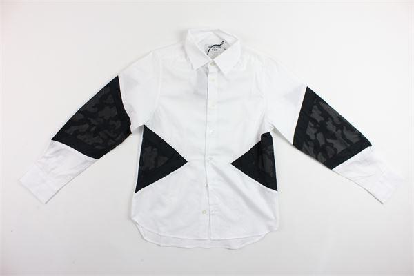 camicia manica lunga tinta unita profili in contrasto NEIL BARRETT | Camicie | 018660BIANCO