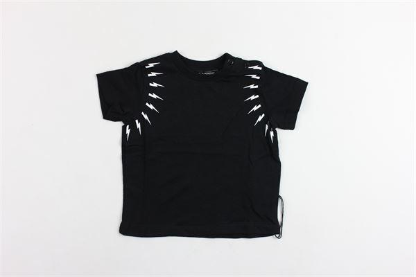 t-shirt mezza manica tinta unita con stampa NEIL BARRETT | T-shirts | 018847NERO