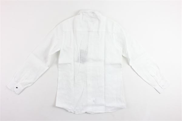 camicia manica lunga tinta unita microfantasia in lino NEILL KATTER | Camicie | 53158BIANCO