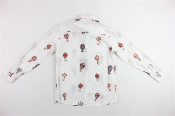 camicia manica lunga tinta unita con stampa NEILL KATTER | Camicie | 54010BIANCO