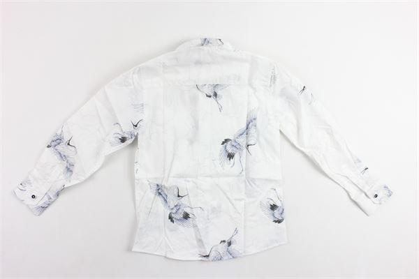 camicia manica lunga tinta unita stampa fantasia NEILL KATTER | Camicie | 54267BIANCO