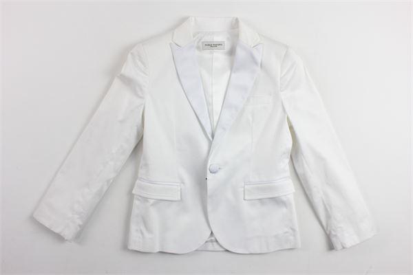 giacca tinta unita sfoderata con profili in raso PAOLO PECORA | Giacche | PP1197BIANCO