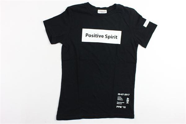 t-shirt in cotone mezza manica tinta unita con stampa PAOLO PECORA | T-shirts | PP1213NERO
