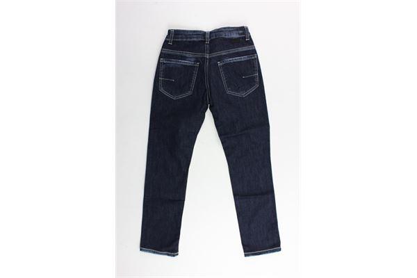 jeans 5 tasche tinta unita con profili in contrasto girovita regolabile PAOLO PECORA | Jeans | PP1696BLU
