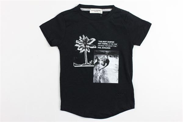 t-shirt mezza manica tinta unita con stampa PAOLO PECORA | T-shirts | PP1733NERO
