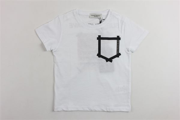 t-shirt in cotone mezza manica tinta unita con stampa PAOLO PECORA | T-shirts | PP1743BIANCO