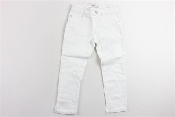 pantalone in denim 5 tasche tinta unita girovita regolabile PAOLO PECORA | Pantaloni | PP1762BIANCO