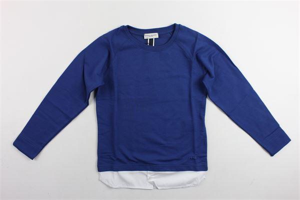 felpa girocollo tinta unita profili finta camicia PAOLO PECORA | Felpe | PP1787COBALTO