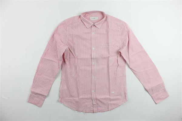 camicia manica lunga rigata con finto taschino PAOLO PECORA   Camicie   PP1837ROSSO