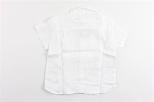 camicia mezza manica tinta unita con taschino in lino PATACHOU   Camicie   CM2833609BIANCO