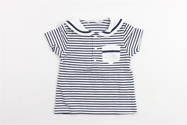 t-shirt mezza manica rigata collo camicia e taschino PATACHOU   T-shirts   TSH2833157BLU