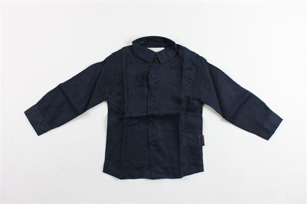 camicia manica lunga tinta unita con logo in lino PEUTEREY | Camicie | PTB1172BLU