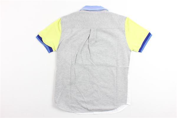 polo mezza manica profili colorati tessuto in camica davanti ROBERTO CAVALLI | Polo | GJT626BIANCO