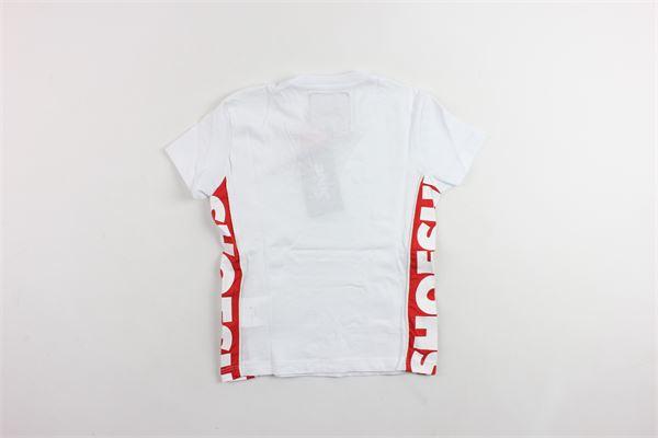 t-shirt mezza manica in cotone tinta unita con stampa SHOE | T-shirts | E9TM7326BIANCO