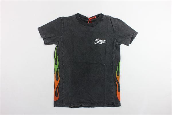 t-shirt mezza manica in cotone tinta unita con stampa SHOE | T-shirts | E9TM8588GRIGIO