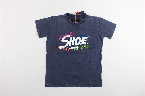 t-shirt mezza manica in cotone tinta unita con stampa SHOE | T-shirts | ENTM8585BLU