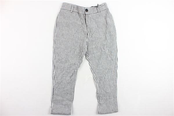 pantalone rigato in lino STAY STREET | Pantaloni | BRB9077BIANCO