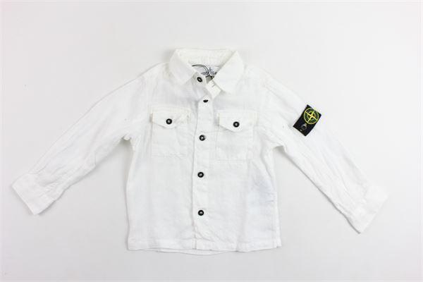 camicia manica lunga in lino con taschino STONE ISLAND | Camicie | 681610102BIANCO