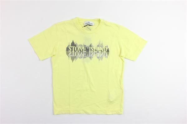 t-shirt mezza manica con stampa stone island STONE ISLAND | T-shirts | 681621058V0001GIALLO