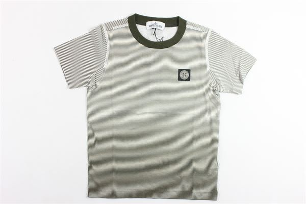 t-shirt mezza manica tinta unita con stampa rigato STONE ISLAND | T-shirts | 701621756BIANCO