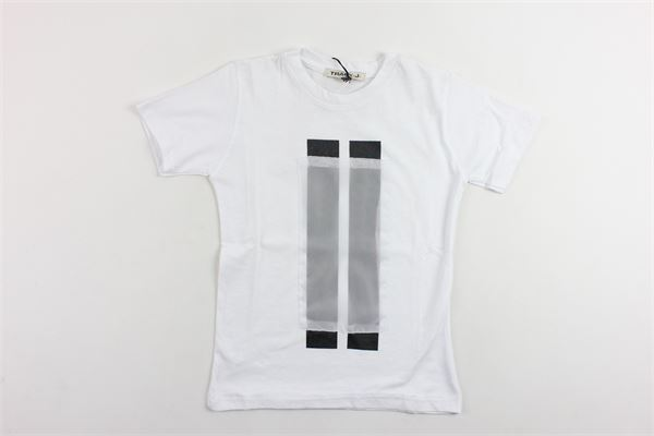 t-shirt mezza manica tinta unita con stampa TRACK | T-shirts | GCMMBIANCO