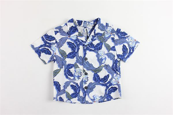 camicia mezza manica stampa fantasia VERSACE | Camicie | YVBCA36BLU