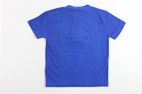 t-shirt mezza manica tinta unita stampa logo versace in rilievo VERSACE | T-shirts | YVMTS158COBALTO
