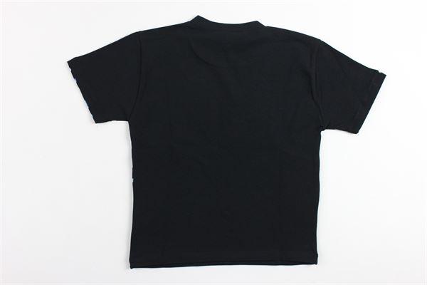 t-shirt mezza manica tinta unita stampa logo versace in contrasto VERSACE | T-shirts | YVMTS169NERO
