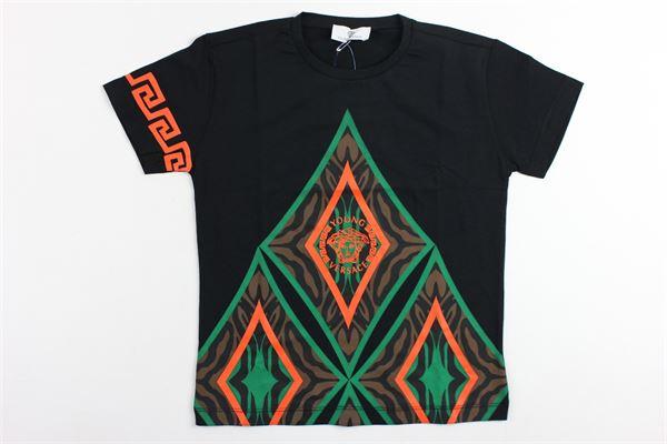 t-shirt mezza manica tinta unita stampa fantasia VERSACE | T-shirts | YVMTS171NERO
